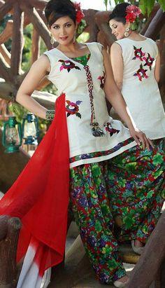 $76.64 White Cotton Thread Work Punjabi Salwar Suit 25591