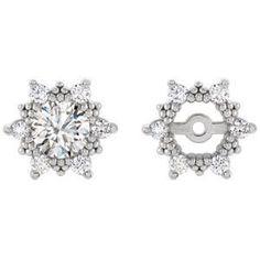 0 24 Carat Diamond Earring Jackets In 14k White Gold Set Of 6 Diamonds