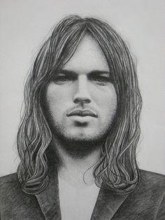 David Gilmour Pencil Drawing By Howard Wiseman 2009