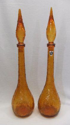 Vintage glass genie bottles Antique Bottles, Vintage Bottles, Genie Bottle, Murano, Decanter, Vintage Decor, The Originals, Antiques, Glass
