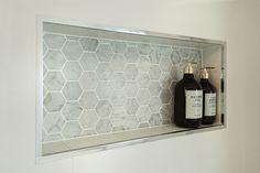 #beaumonttiles carrara bianco hexagon moscia tiled #showerniche #hallharthomes image00787