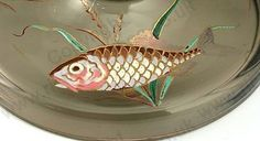 Antique Glass with wildlife theme. Detail of the Moser smoky brown candlesticks with hand painted fish in raised enamel, c.1910. To visit my website click here: http://www.richardhoppe.co.uk or for help or information email us here: info@richardhoppe.co.uk