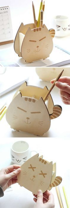 Wooden Cat Pen Pencil Holder Stationery Office Desk Organizer