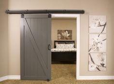 Image result for basement bedroom with barn door