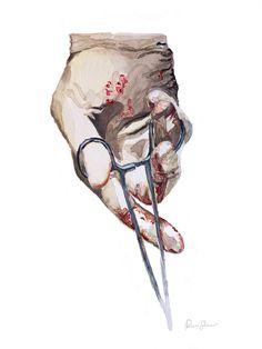 Surgeon Hand Watercolor Print - Surgery Art - Abstract Anatomy Art - Surgeon Gift - OBGYN Gift