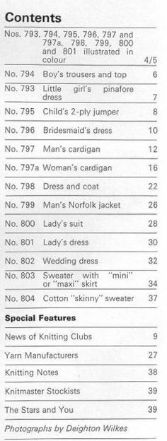 Modern Knitting April 1968 - Contents