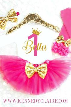 Princess First Birthday Outfit in Pink and Gold comes personalized with her name and age, and features a sparkly tiara on top. Available as a 1st Birthday Outfit, Second Birthday Outfit, Third Birthday Outfit through age 8! #princessbirthdayparty #princessbirthdaytutuoutfit