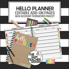 Hello {Any Year} Planner/Calendar Add-On Pages: New Account Password Template in Adobe Fillable Forms by The 3AM Teacher! $