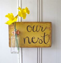 Wall Flower Vase, Our Nest, Antique Bottle, Mustard Seed Yellow, Copper Hanger, Home Decor, Sign