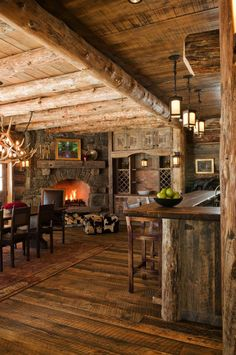 Top 60 Best Log Cabin Interior Design Ideas - Mountain Retreat Homes From kitchens to living rooms and beyond, discover inspiration with the top 60 best log cabin interior design ideas. Explore cool mountain retreat homes. Rustic Cabin Kitchens, Rustic Kitchen, Kitchen Ideas, Western Kitchen, Design Kitchen, Log Cabin Living, Log Cabin Homes, Log Cabins, Rustic Cabins