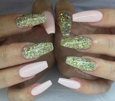 Light Pink and Gold Glitter Coffin Nails