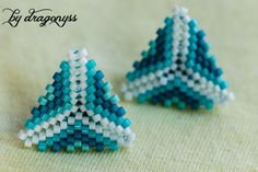 Glacier beaded triangle earrings by CraftsByDragonyss on Etsy