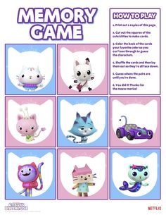 Challenge your preschooler's memory skills with this free printable Gabby's Dollhouse Printable Memory Game. Play 1, Games To Play, Cat Character, Square Card, Memory Games, Make Your Own, Cute Cats, Favorite Color, Free Printables