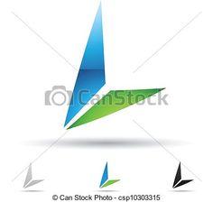 Vector - Abstract, pictogram, brief, L - stock illustratie, royalty-vrije illustraties, stock clip art symbool, stock clipart symbolen, logo, line art, EPS beeld, beelden, grafiek, grafieken, tekening, tekeningen, vector afbeelding, artwork, EPS vector kunst
