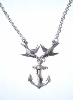 Swallows And Anchor Necklace Anchor Jewellery By Sugar Skull, Kreepsville And Bow Crossbones 40s & 50s Vintage Inspired Clothing | Rockabilly & Retro Clothing Accessories at Collectif