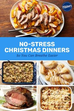 Who says hosting Christmas dinner has to be stressful? These easier-than-ever me. , Who says hosting Christmas dinner has to be stressful? These easier-than-ever meal ideas prove that the big holiday feast really can be totally drama-free. Vegan Christmas Dinner, Christmas Cooking, Holiday Dinner, Christmas Dinners, Christmas Recipes, Christmas Dinner Ideas Family, Christmas 2019, Christmas Diy, Traditional Christmas Dinner