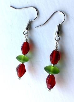 A personal favorite from my Etsy shop https://www.etsy.com/listing/259228844/christmas-earrings-bead-earrings-red-and