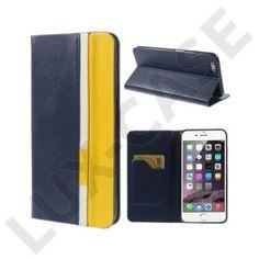 Trenter (Mörk Blå / Gul) iPhone 6 Plus Läder Flip Fodral