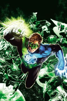 Hal Jordan wearing both green and blue lantern rings