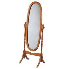 Oval Cheval Mirror in Oak Finish