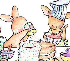 Children Art Print. Baking Day. PRINT 8X10. Nursery by LoxlyHollow, $24.00