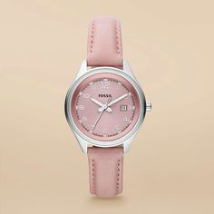 FOSSIL® Watch Collections Flight Watches:Women Flight Mini Leather Watch - Pink AM4376-- perfectly pink