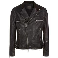 AllSaints Kline Leather Biker Jacket (€315) ❤ liked on Polyvore featuring men's fashion, men's clothing, men's outerwear, men's jackets, mens leather biker jacket, mens biker jacket, mens leather motorcycle jacket, mens leather jackets and mens leather moto jacket