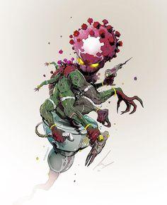 Ilustrações do Coronavírus estilo HQs com heróis e vilões