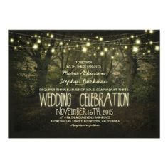 rustic oak tree with string lights wedding invitations  | Rustic tree and string lights wedding invitation