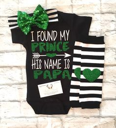 A personal favorite from my Etsy shop https://www.etsy.com/listing/533737209/baby-girl-clothing-i-found-my-prince-his