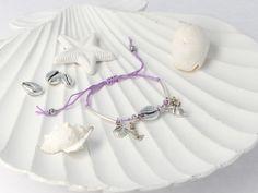 Návod: Fialový Shamballa náramok s Kauri mušľou - Bracelets, Bangles, Bracelet