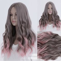 LOLITA-Gray-Pink-Ombre-Hair-Cosplay-Party-Wig-Wavy-Curly-Full-Long-Costume-Wigs