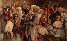 """lamus-dworski: """" Witold Pruszkowski (Polish, """"Procesja zielna"""" / """"Niedziela zielna"""" (feast of the Blessed Mother of the Herbs - Święto Matki Boskiej Zielnej) """" Assumption Of Mary, Divine Mother, Flash Art, Historical Images, Art Graphique, Blessed Mother, Art World, Traditional Art, Lovers Art"""