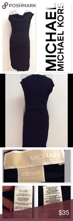 """XS MICHAEL KORS black soft jersey knit dress Brand: Michael Kors  Style: jersey dress  Size: XS  Measurements: 18.5"""" pit to pit 38.5""""  Material: 95% rayon 5% spandex Features: rouched side, soft jersey material, dress it up or down, sleeveless, cowl neck  Condition: EUC MICHAEL Michael Kors Dresses"""