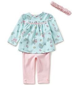 Little Me Baby Girls 3-12 Months Botanical Tunic, Headband, and Solid Pants Set