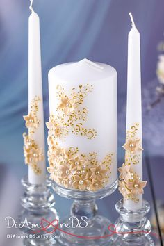 Flowers unity candle, personalized votive candles, gold and Ivory wedding, luxury traditional, wedding pillar candles, gold lace, 3pcs