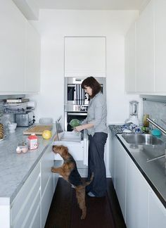 10 Best Modern Kitchens - Photo 6 of 10 - In this New York kitchen, every inch is used maximally, from the built-in double-decker Miele oven to the Sub-Zero fridge and freezer under the counter, distributed between four unobtrusive drawers.The Arclinea kitchen system includes an integrated lighting and power strip, which brightens the worktop and negates the need for jutting wall outlets.