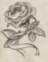 Rose tattoo but replace ribbon w/breast cancer ribbon and smoother lines. Description from pinterest.com. I searched for this on bing.com/images
