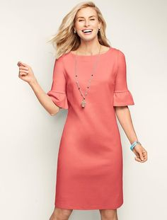 Flounce-Sleeve Shift Dress - Talbots