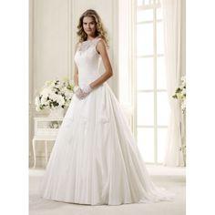 Stunning Sleeveless Boat Neckline Taffeta Ball Gown Wedding Dress - Star Bridal Apparel, #ballgown, #boatneck, #sweetheart, #romantic, #lace, #sexy, #bridal, #wedding, #dress