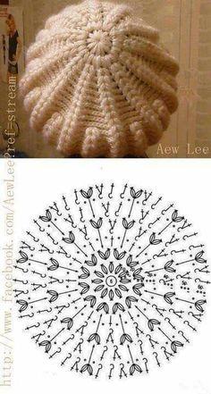 Exceptional Stitches Make a Crochet Hat Ideas. Extraordinary Stitches Make a Crochet Hat Ideas. Crochet Beret Pattern, Bonnet Crochet, Crochet Beanie Hat, Beanie Pattern, Crochet Diagram, Crochet Chart, Free Crochet, Knitted Hats, Crochet Patterns