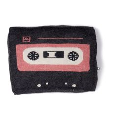 Music Tape Pillow - Dark Grey/Rose