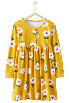Toddler Girls Yellow Flared Floral Day Dress