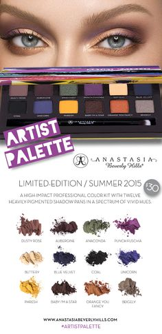 it's here!! the anastasia beverly hills limited edition #artistpalette drops today online & tomororw (4/16/15) in ULTA stores!! this palette has 12 highly pigmented shadow pans, the perfect range of colors for the spring/summer months! it's only $30, such a steal!! don't miss out on this must have! #anastasiabeverlyhills #artistpalette #norvina #musthave #beauty #cosmetics #makeup #palette #makeupaddicts #makeupobsessed