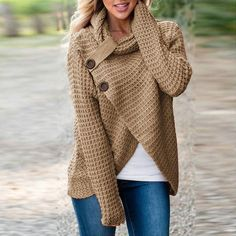 Knitted Warm Button Long Sleeve Sweater