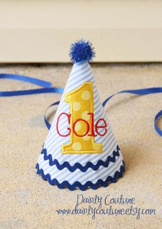 Boys First Birthday Party Hat - Dapper blue and white stripes with yellow Michael Miller sunny dots fabric - Free personalization First Birthday Hats, Boy Birthday Parties, 60th Birthday, First Birthdays, Birthday Ideas, Kid Parties, Happy Birthday, Dots Free, Sesame Street Birthday