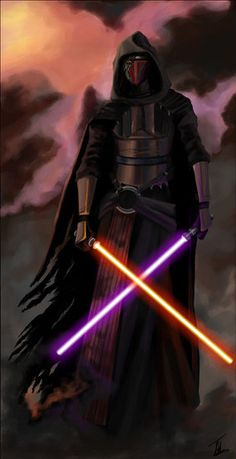 Darth Revan with red and purple lightsabers