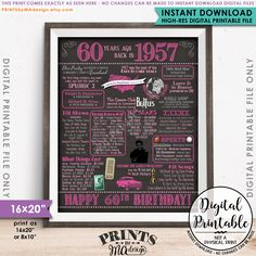 60th Birthday Gift 1957 Poster 16x20 Chalkboard Style