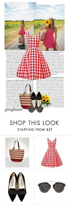"""""""Julia Engel - Gal meets Glam"""" by soley ❤ liked on Polyvore featuring Jimmy Choo, Christian Dior, contest, dress, sunglasses and gingham"""