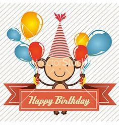 happy birthday monkey by grmarc on VectorStock®